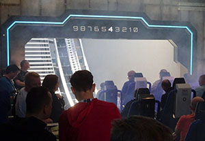 A countdown sequence begins before the rollercoaster leaves the station