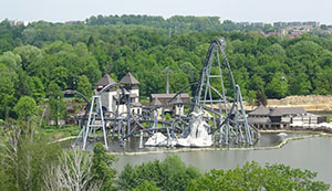 Most of Lech Coaster's track runs over the lake