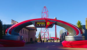 Red Force towers over the entrance to Ferrari Land