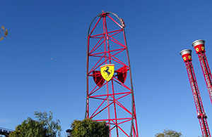 Red Force dwarfs the nearby shot and drop towers