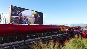A Red Force train accelerates down the launch track