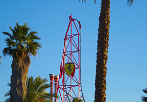 The rollercoaster can be seen from all over the Port Aventura resort