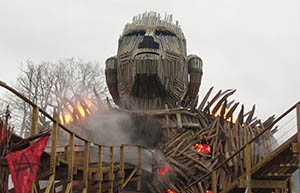 The flaming Wicker Man combines real fire with smoke, lighting and other theatrical effects