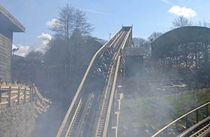 A train makes its way up Wicker Man's unusual lift hill, which changes angle half way up