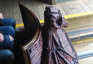 Detailing on the front of the Wicker Man train