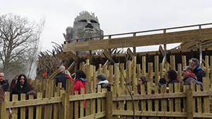 Wicker Man's face looks out on the start of the queueline