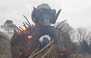 While the Wicker Man may be fronted by a human face, his back is that of a ram's head