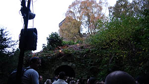 The queue goes through the long brick tunnel