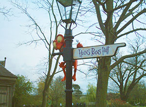 Signpost pointing the way to Hocus Pocus Hall
