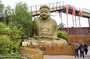 The Giant Buddha statue has been repainted in gold
