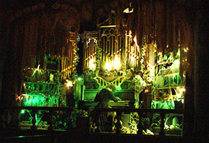Dracula plays the organ in the Vampire station