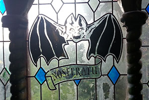 Stained glass at the ride exit