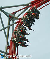 The rollercoaster's beyond vertical lift hill