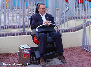 Drayton Manor Managing Director Colin Bryan tries out the G Force test seat