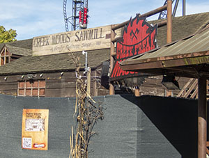 Black fences have been put up to surround the old Logger's Leap station