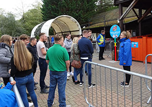 "Before venturing inside, guests are briefed that the maze is ""designed to be very, very scary"""