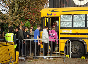 The maze begins with guests boarding an old school bus