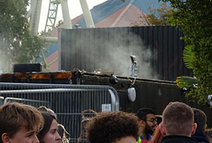 It wouldn't be a Thorpe Park maze without smoking shipping containers