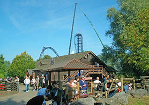 Saw: The Ride under construction behind the Loggers Leap station