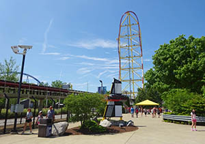 Top Thrill Dragster sits on the Gemini Midway