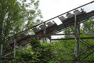 A train climbs the lift hill