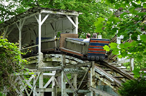 A train entering the covered section near the end of the ride