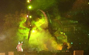 Mickey tames Maleficent's enormous dragon