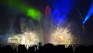 Fountains, fireworks, lights and a full size paddle steamer